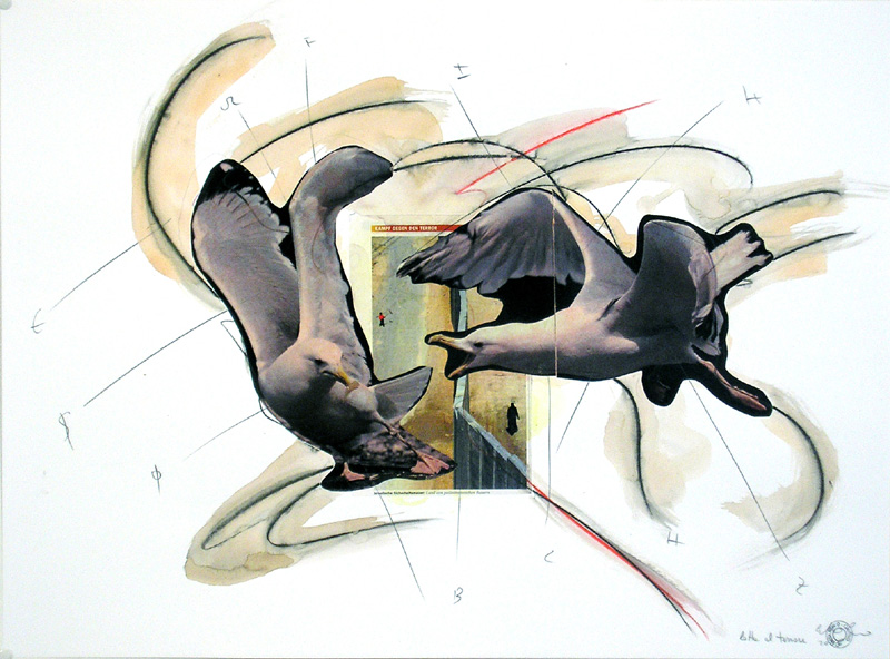 COSTANTINO CIERVO - Lotta al terrore, 2005- Collage und Mischtechnik auf Papier - 50x70 cm.